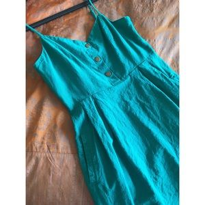 Urban outfitters teal blue linen strappy sundress